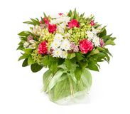 Bouquet of flowers top view on white background Stock Photography