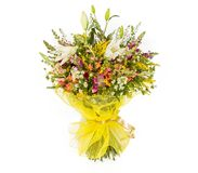 Bouquet of flowers top view on white background Stock Image