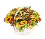 Bouquet of flowers top view on white background Royalty Free Stock Images