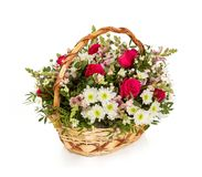 Bouquet of flowers top view on white background.  Royalty Free Stock Photos