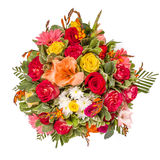 Bouquet of flowers top view on white. Bouquet of flowers top view isolated on white Royalty Free Stock Photos