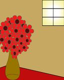 Bouquet of flowers in vase. Bouquet of red flowers in red vase on table in house illustrated Royalty Free Illustration