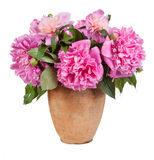 Bouquet of flowers in a vase old isolated on white background Stock Photo