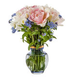 Bouquet of flowers in a vase, tulips and forget-me-not, isolated Royalty Free Stock Photography