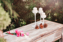 Bouquet of flowers on the vintage table, Wedding decoration Royalty Free Stock Images