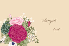 Bouquet of flowers. Wedding card. Royalty Free Stock Photography