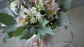 Bouquet of flowers. Wedding bouquet of flowers with ribbons stock video footage