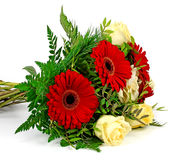 A bouquet of flowers on a white background Royalty Free Stock Image