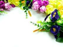 Bouquet Flowers on white background. Bundle Bouquet Flowers Border on white background Stock Images