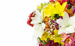 Bouquet of flowers on  white background. Copy space. Postcard with place for congratulations Stock Images