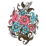 Bouquet of flowers on a white background royalty free illustration