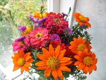 Bouquet of flowers on the window stock photo