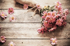 Bouquet of   flowers on wooden background Royalty Free Stock Images