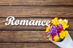 Bouquet of flowers with word Romance Stock Image
