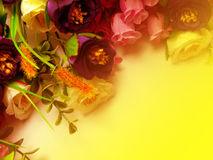 Bouquet Flowers with Yellow Background. Beautiful Bouquet Flowers Border with Yellow Background Stock Photos