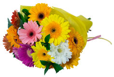 Bouquet of flowers in yellow package Royalty Free Stock Photos