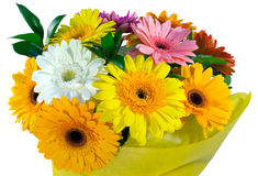 Bouquet of flowers in yellow package Stock Photo