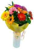Bouquet of flowers in yellow package and vase Stock Photos