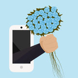 A bouquet of flowers with your hand from the phone. Holiday greetings. Vector. Illustration vector illustration