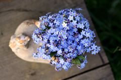 Bouquet of forget-me-nots in a boot-shaped vase, top view royalty free stock photography