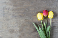 Bouquet frais de tulipes au-dessus de fond en bois de table avec le spac de copie photographie stock