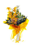 Bouquet of fresh bright yellow orchid Stock Images