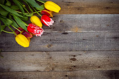 Bouquet of fresh colorful tulips over rustic wooden background. Stock Photo