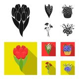 A bouquet of fresh flowers black, flat icons in set collection for design. Various bouquets vector symbol stock web. A bouquet of fresh flowers black, flat icons Stock Photos