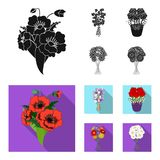 A bouquet of fresh flowers black, flat icons in set collection for design. Various bouquets vector symbol stock web. A bouquet of fresh flowers black, flat icons royalty free illustration