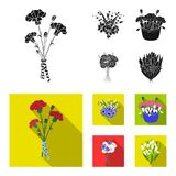 A bouquet of fresh flowers black,flat icons in set collection for design. Various bouquets vector symbol stock web. A bouquet of fresh flowers black,flat icons stock illustration
