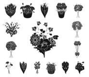 A bouquet of fresh flowers black icons in set collection for design. Various bouquets vector symbol stock web stock illustration