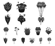 A bouquet of fresh flowers black icons in set collection for design. Various bouquets vector symbol stock web vector illustration