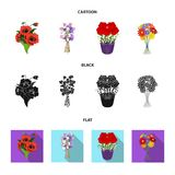A bouquet of fresh flowers cartoon,black,flat icons in set collection for design. Various bouquets vector symbol stock. Illustration Stock Image