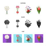 A bouquet of fresh flowers cartoon,black,flat icons in set collection for design. Various bouquets vector symbol stock. Illustration Royalty Free Stock Photo