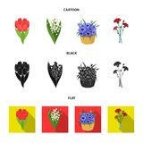 A bouquet of fresh flowers cartoon,black,flat icons in set collection for design. Various bouquets vector symbol stock. Illustration Stock Photo