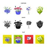 A bouquet of fresh flowers cartoon,black,flat icons in set collection for design. Various bouquets vector symbol stock. Illustration royalty free illustration
