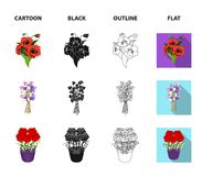 A bouquet of fresh flowers cartoon,black,outline,flat icons in set collection for design. Various bouquets vector symbol. Stock  illustration Stock Photography