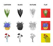 A bouquet of fresh flowers cartoon,black,outline,flat icons in set collection for design. Various bouquets vector symbol. Stock illustration vector illustration
