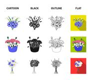 A bouquet of fresh flowers cartoon,black,outline,flat icons in set collection for design. Various bouquets vector symbol. Stock illustration stock illustration