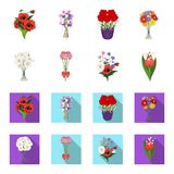 A bouquet of fresh flowers cartoon,flat icons in set collection for design. Various bouquets vector symbol stock web. A bouquet of fresh flowers cartoon,flat Stock Image