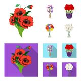 A bouquet of fresh flowers cartoon,flat icons in set collection for design. Various bouquets vector symbol stock web. A bouquet of fresh flowers cartoon,flat Royalty Free Stock Photography