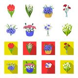 A bouquet of fresh flowers cartoon,flat icons in set collection for design. Various bouquets vector symbol stock web. A bouquet of fresh flowers cartoon,flat Stock Photos