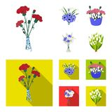 A bouquet of fresh flowers cartoon,flat icons in set collection for design. Various bouquets vector symbol stock web. A bouquet of fresh flowers cartoon,flat vector illustration