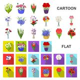 A bouquet of fresh flowers cartoon icons in set collection for design. Various bouquets vector symbol stock web royalty free illustration