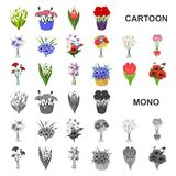 A bouquet of fresh flowers cartoon icons in set collection for design. Various bouquets vector symbol stock web vector illustration