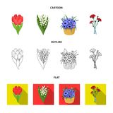 A bouquet of fresh flowers cartoon,outline,flat icons in set collection for design. Various bouquets vector symbol stock. Illustration royalty free illustration