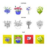 A bouquet of fresh flowers cartoon,outline,flat icons in set collection for design. Various bouquets vector symbol stock. Illustration vector illustration