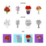 A bouquet of fresh flowers cartoon,outline,flat icons in set collection for design. Various bouquets vector symbol stock. Illustration Stock Images