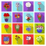 A bouquet of fresh flowers flat icons in set collection for design. Various bouquets vector symbol stock web. A bouquet of fresh flowers flat icons in set Royalty Free Stock Photos