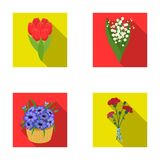 A bouquet of fresh flowers flat icons in set collection for design. Various bouquets vector symbol stock web. A bouquet of fresh flowers flat icons in set Royalty Free Stock Photography
